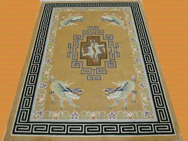Kylin and deer design Chinese spun silk rug