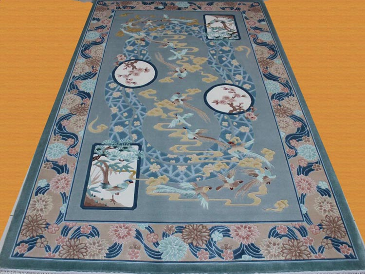 embossed chinese style carpet with birds and flowers design