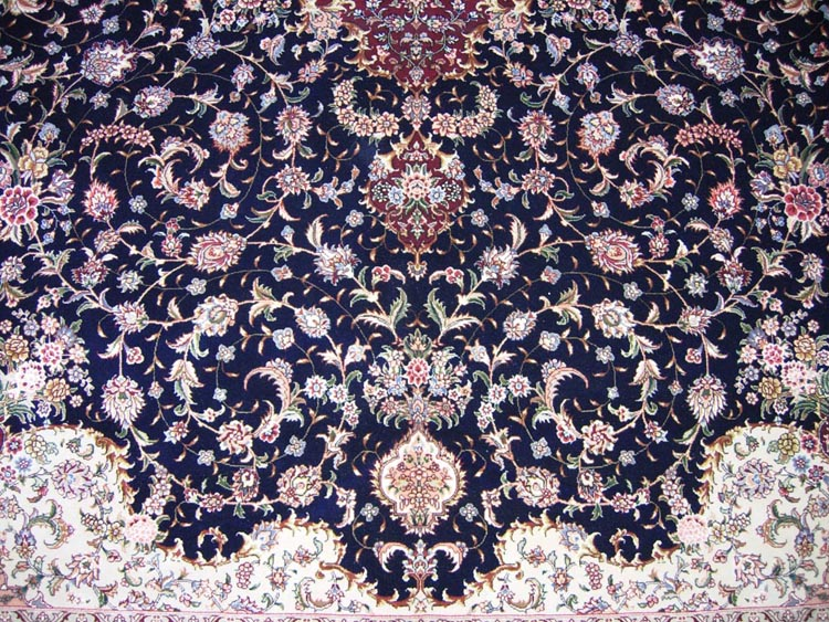 blue main color of silk and wool carpet
