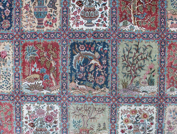 garden design silk carpet is seprated by squares