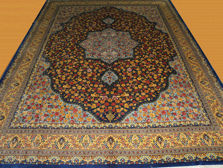 tabriz design silk rug