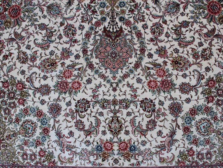floral design on persian silk rug